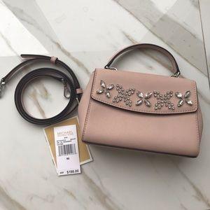 Michael Kors XS Ava embellished pink crossbody bag